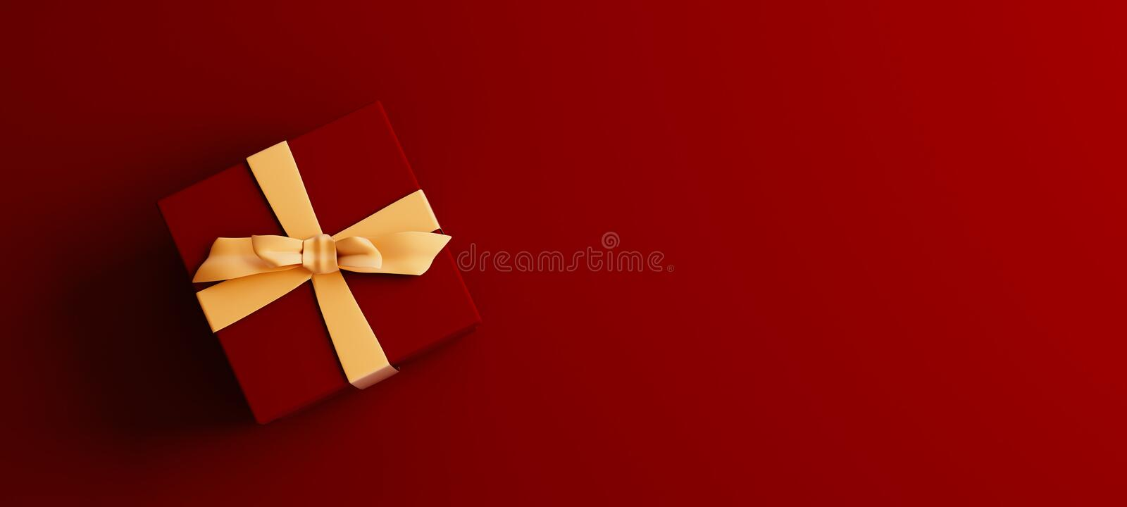 Mock-up poster, dark red colored gift box with golden bow on dark red background stock photos