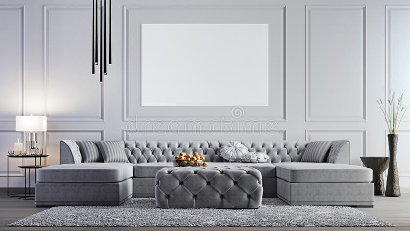 Mock up poster in elegant living room in stylish apartment. stock illustration