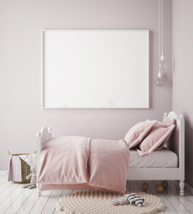 Mock up poster frame in baby girl room, scandinavian style interior background. 3D render, 3D illustration stock illustration