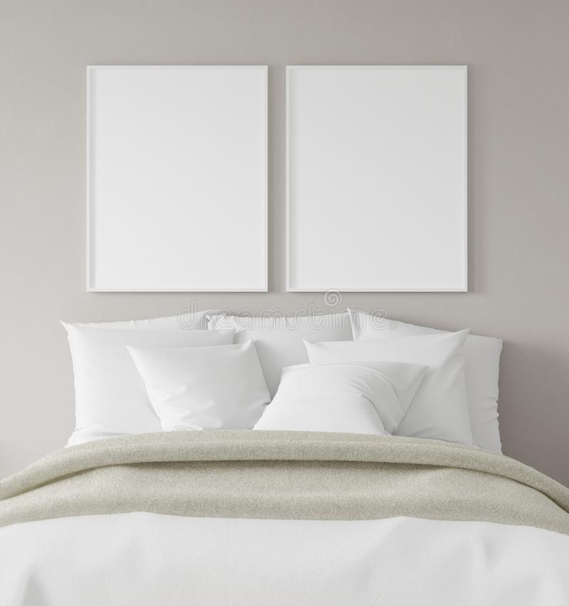 Mock-up poster frame in bedroom, Scandinavian style stock photo
