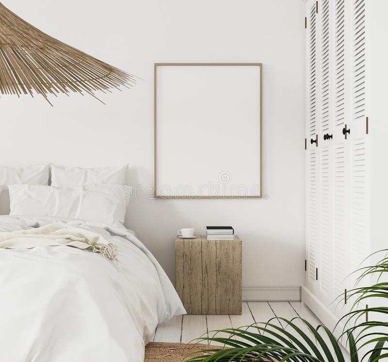 Mock-up poster frame in bedroom, Scandinavian style royalty free stock image
