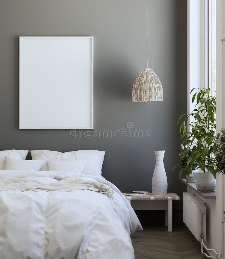 Mock-up poster frame in bedroom, Scandinavian style. 3d render vector illustration
