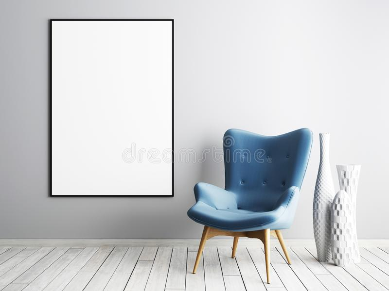 Mock up poster frame with blue armchair and metal table in simple living room interior. vector illustration