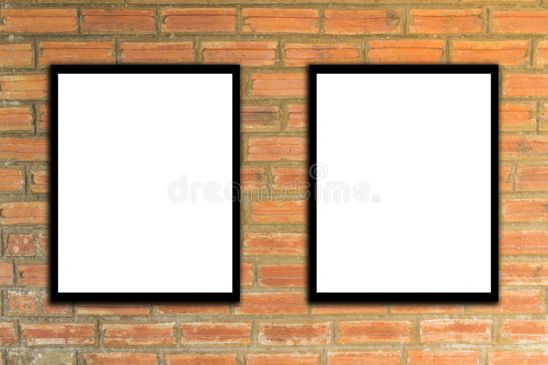 Mock up poster frame and brick wall hipster or vintage.3. Mock up poster frame and brick wall hipster or vintage royalty free stock photos