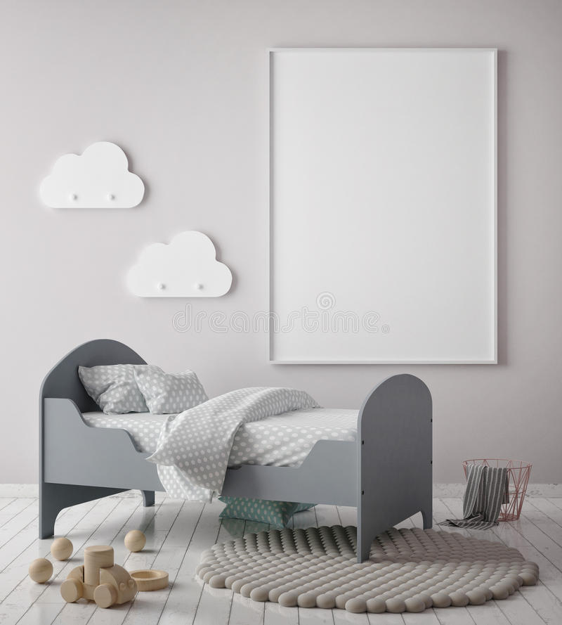 Mock up poster frame in children bedroom, scandinavian style interior background, 3D render,. 3D illustration