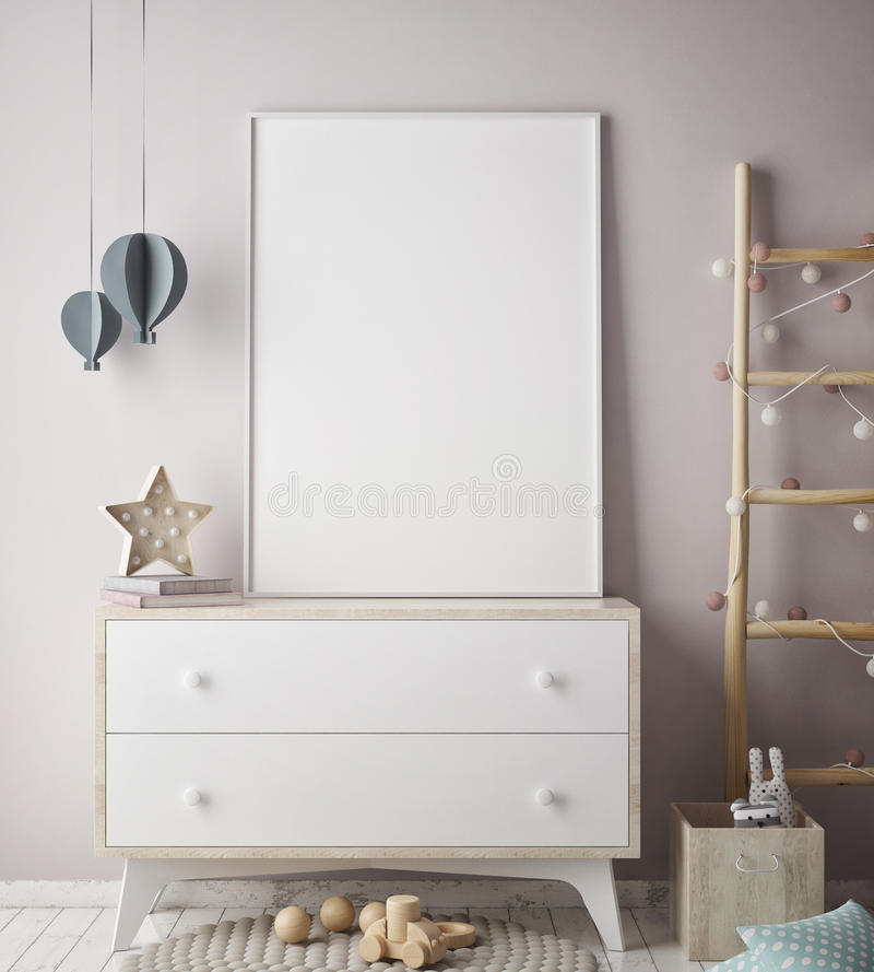 Mock up poster frame in children bedroom, scandinavian style interior background, 3D render. 3D illustration