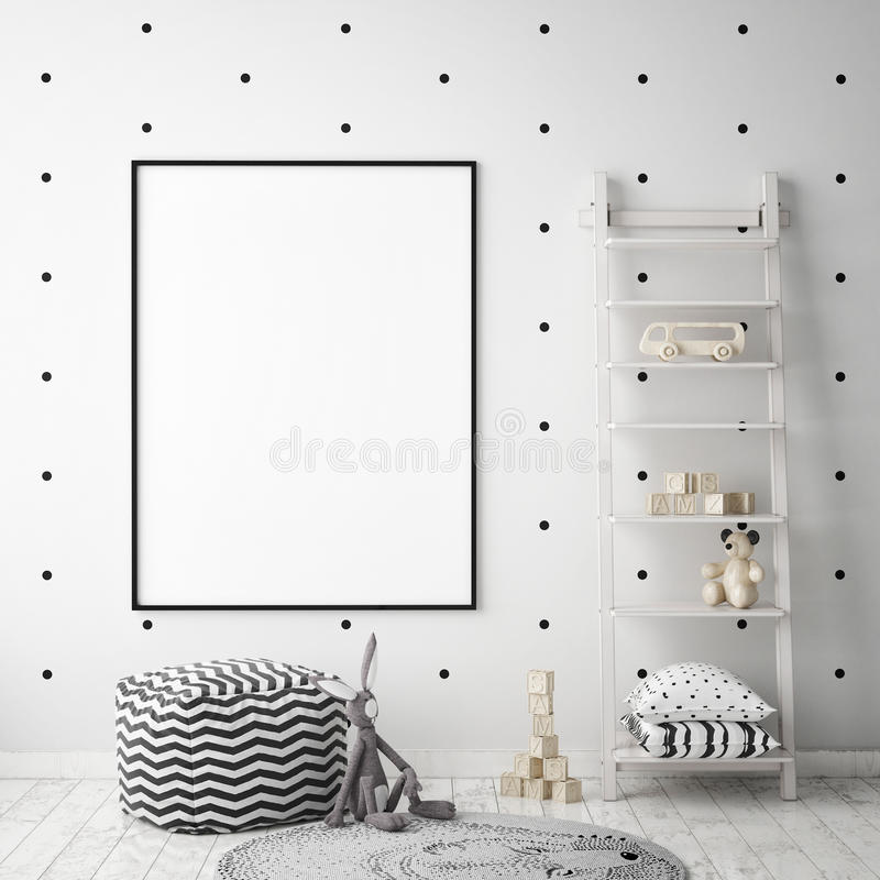 Mock up poster frame in children bedroom, scandinavian style interior background, 3D render royalty free illustration