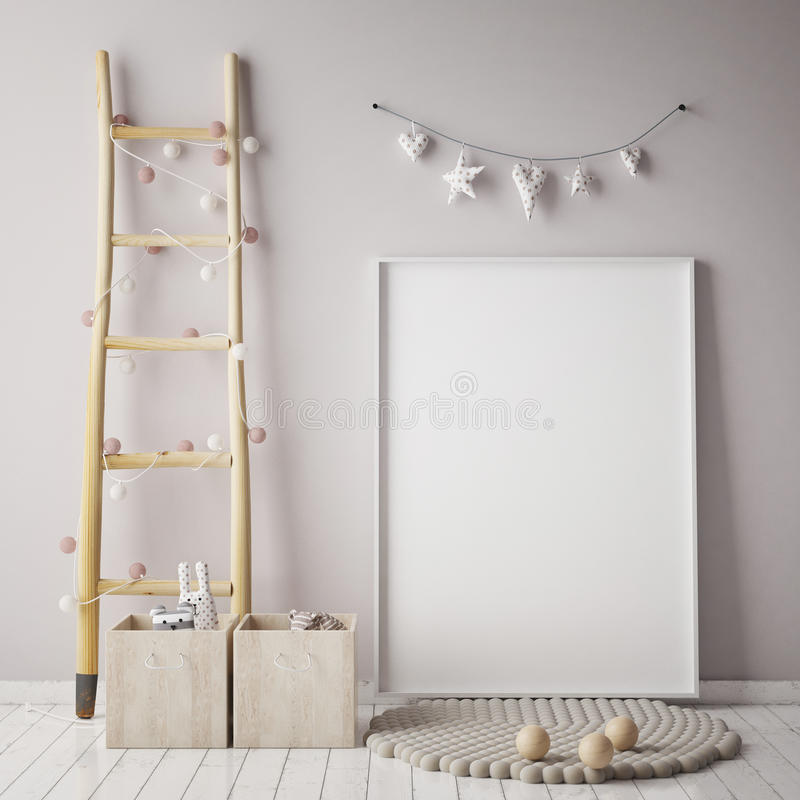 Mock up poster frame in children room, scandinavian style interior background, royalty free illustration