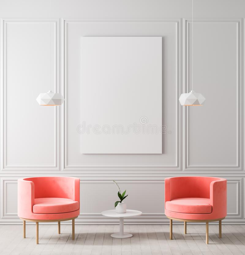 Mock up poster frame in classic style interior. Minimalist classic room with armchair. 3D illustration.  stock photography