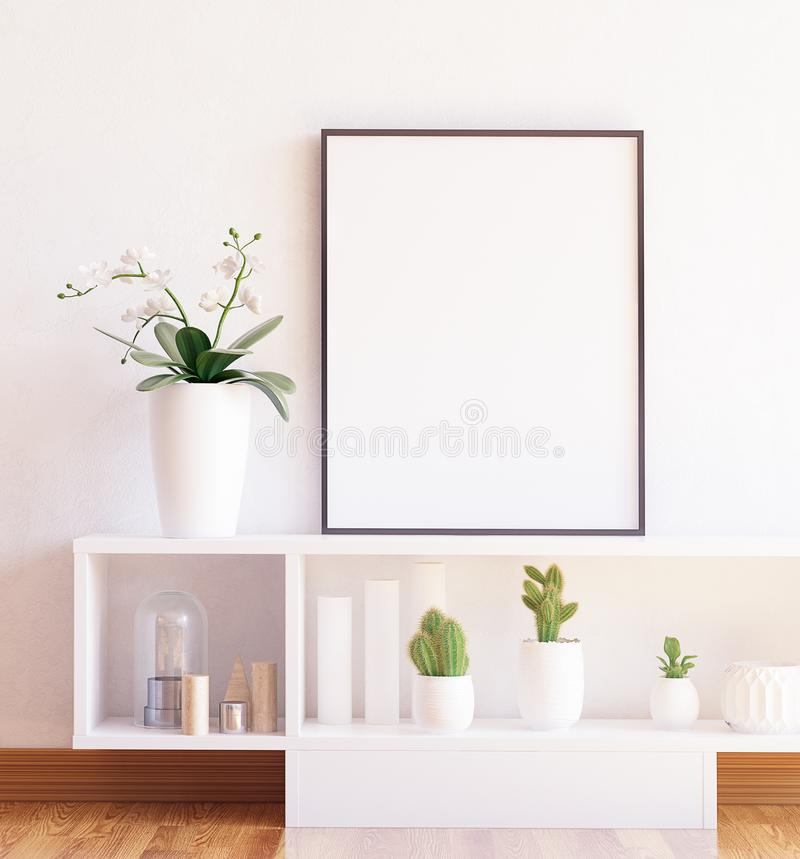 Mock up poster frame close-up on shelf with flowers royalty free stock image