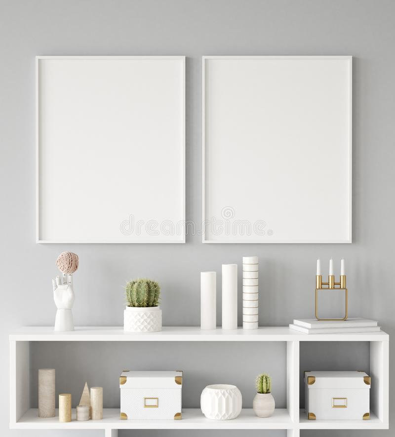 Mock up poster frame closeup in interior background, Scandinavian style. 3d render royalty free stock photography
