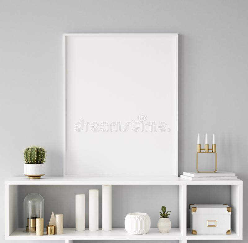Mock up poster frame closeup in interior background, Scandinavian style. 3d render stock image