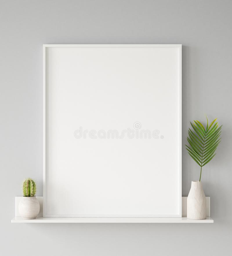 Mock up poster frame closeup in interior background, Scandinavian style. 3d render stock photo