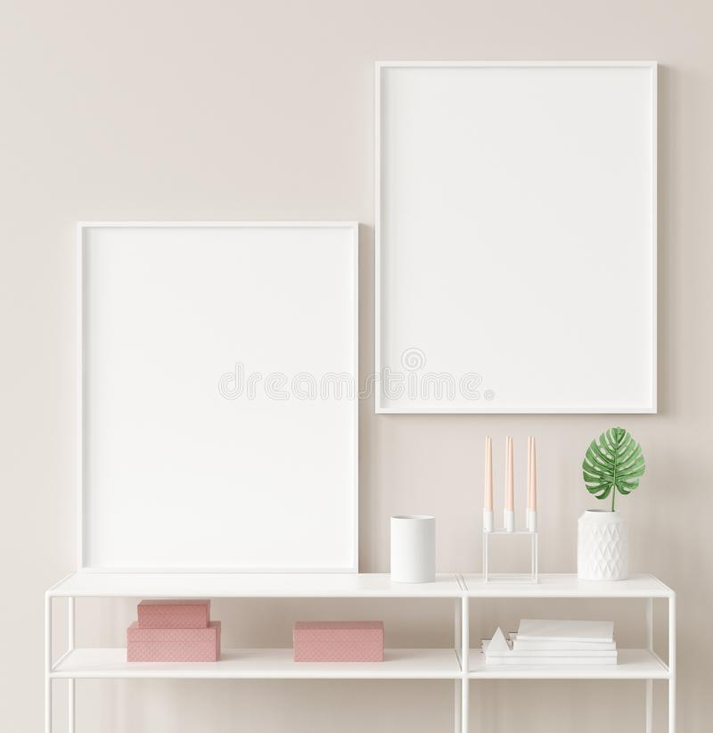 Mock up poster frame closeup in interior background, Scandinavian style. 3d render stock images