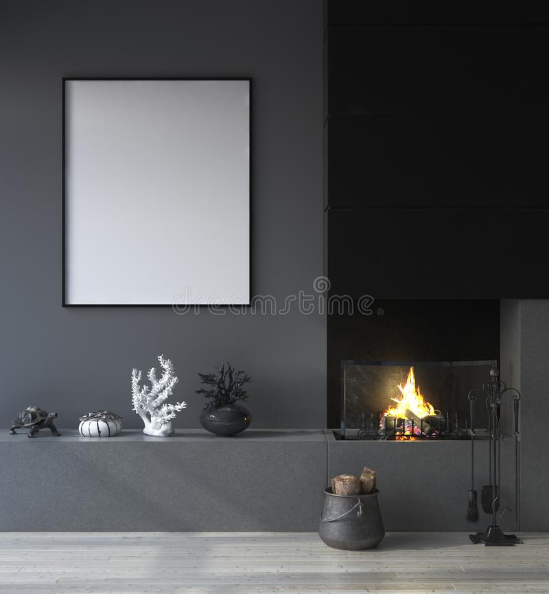 Mock up poster frame in dark interior background with fireplace stock illustration