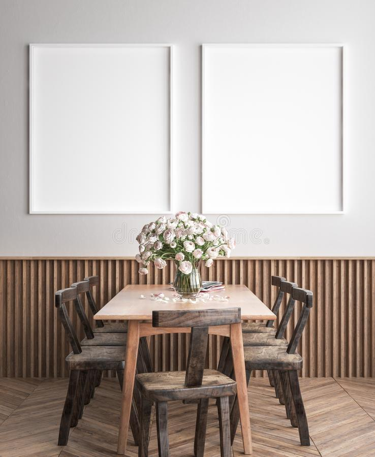 Mock up poster frame in dining room interior background, Scandinavian style. 3D render royalty free stock images
