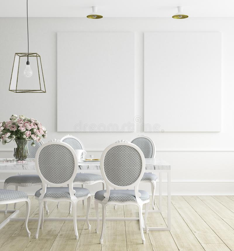Mock up poster frame, dining room , Scandinavian style royalty free stock photos