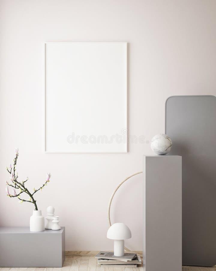 mock up poster frame in geometric interior background, pastel colors, 3D render, 3D illustration stock illustration