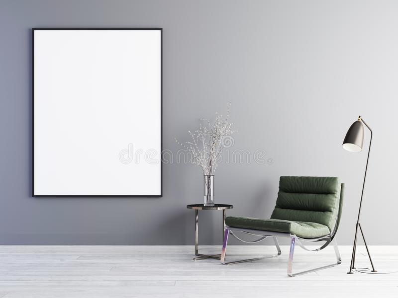 Mock up poster frame with green armchair and metal table in simple living room interior. vector illustration