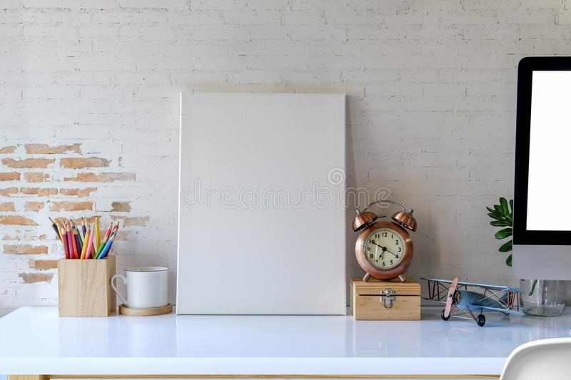 Mock up photo frame with supplies. royalty free stock images