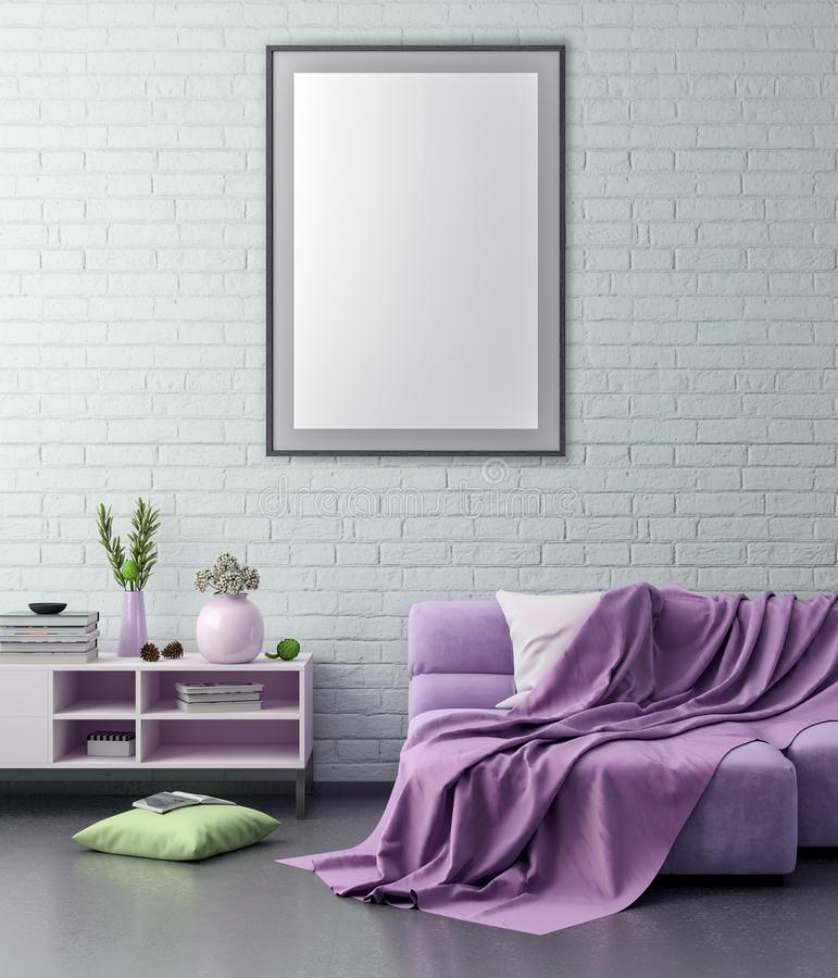 Mock up poster frame in hipster interior background and brick wall, 3D illustration royalty free illustration