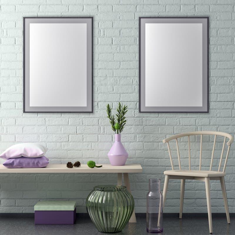 Mock up poster frame in hipster interior background and brick wall, 3D illustration vector illustration