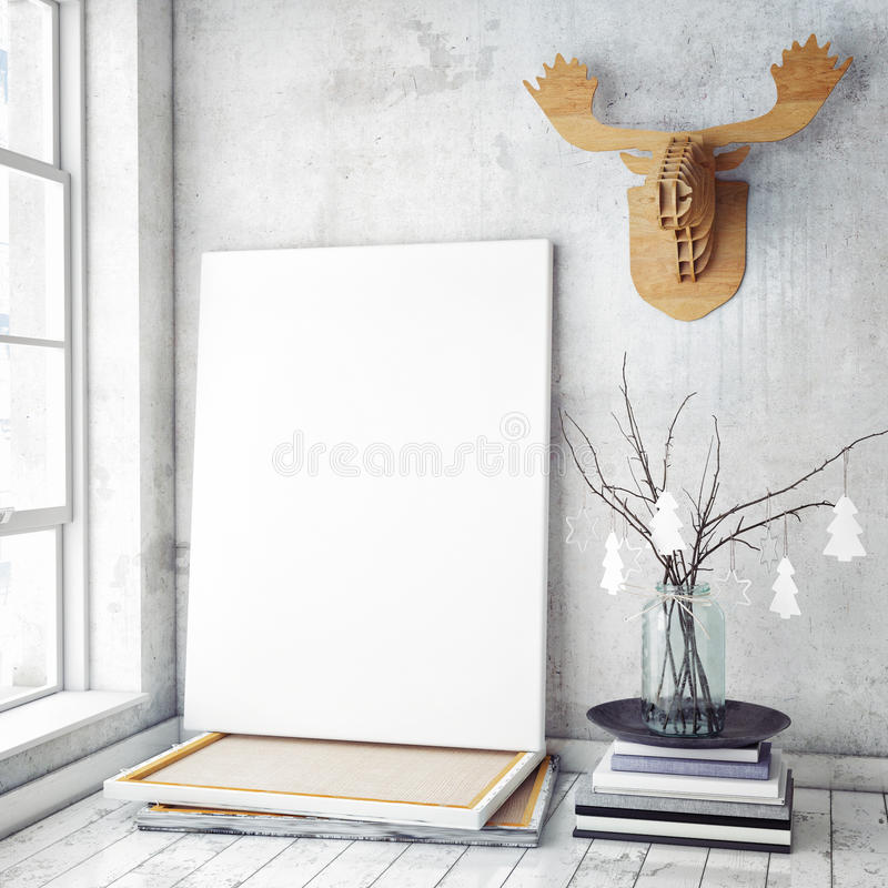 Mock up poster frame in hipster interior background,christamas decoration,. 3D render stock image