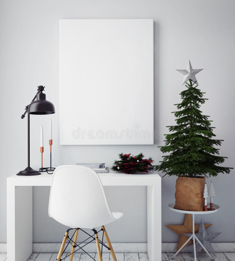 Mock up poster frame in hipster interior background,christamas decoration,. 3D render royalty free stock photo