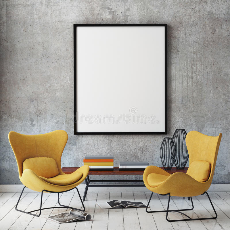 Mock up poster frame in hipster interior background, stock photos