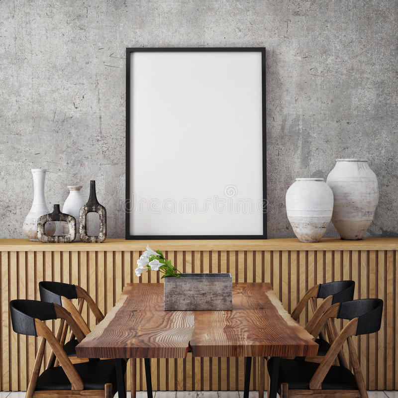 Download Mock Up Poster Frame In Hipster Interior Background, Stock Photo - Image of floor, blank: 64547602
