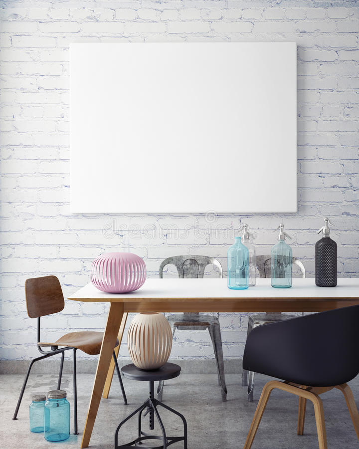 Mock up poster frame in hipster interior background, royalty free stock image