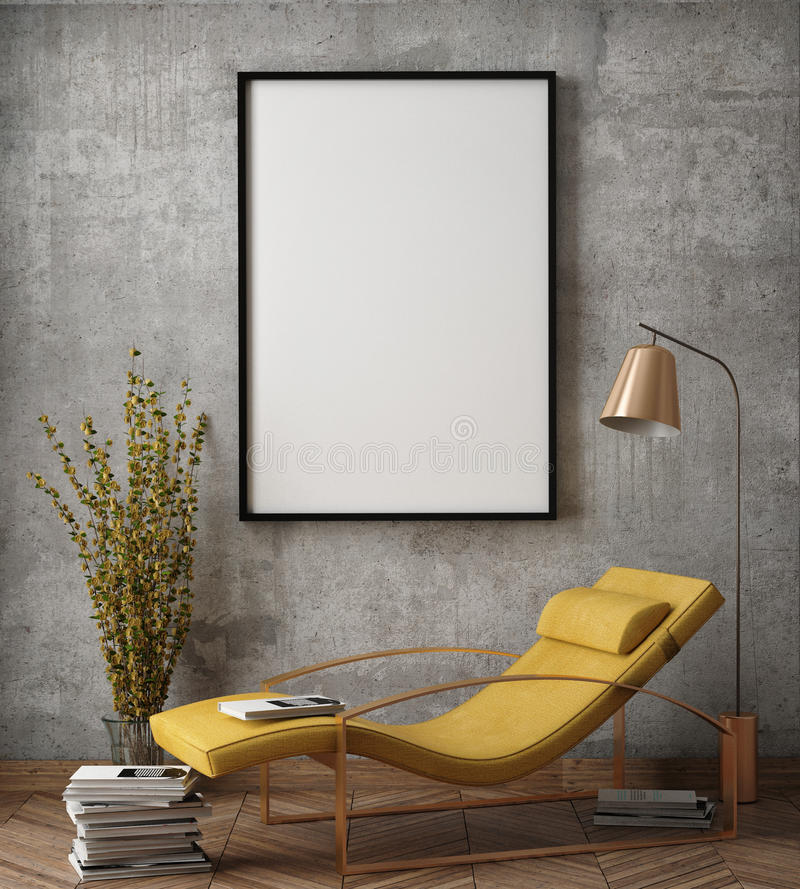Mock up poster frame in hipster interior background, stock photo
