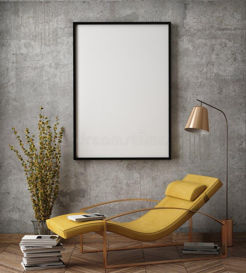 Mock up poster frame in hipster interior background,. 3D render