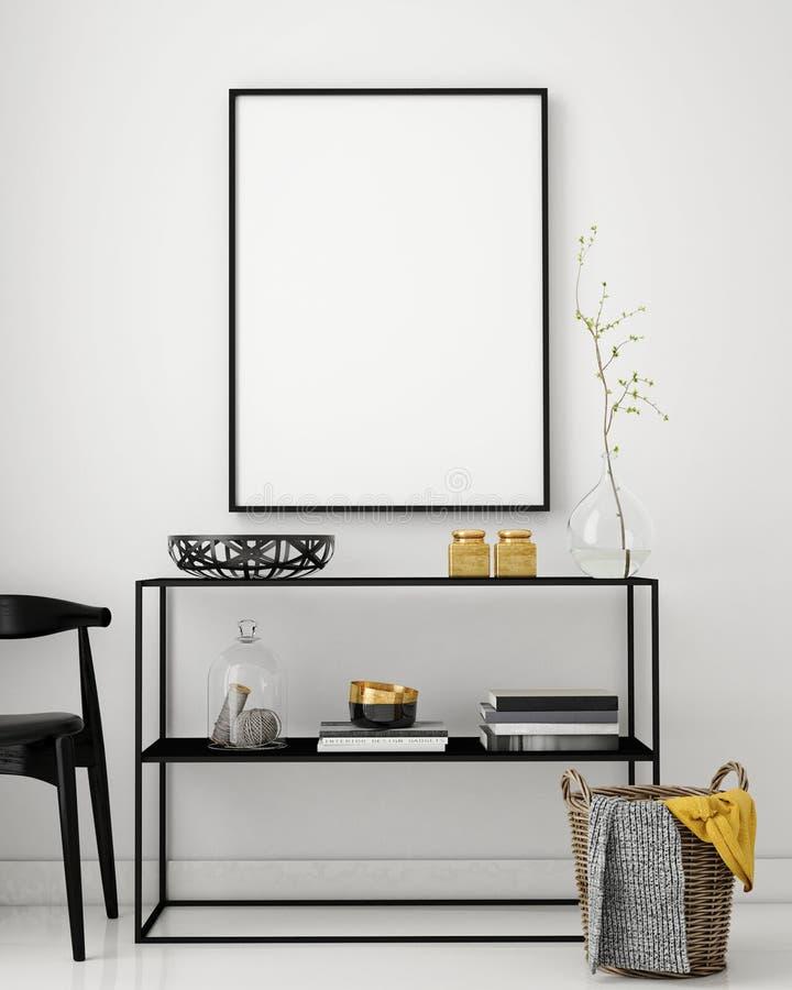 Mock up poster frame in hipster interior background,. 3D render, 3D illustration