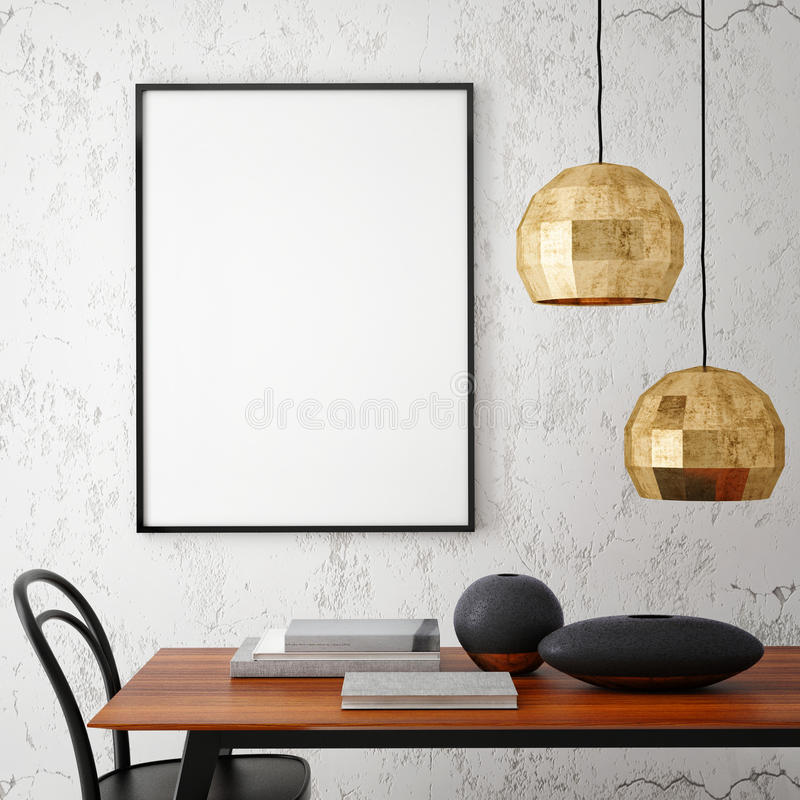 Mock up poster frame in hipster interior background,. 3D rendering, 3D illustration