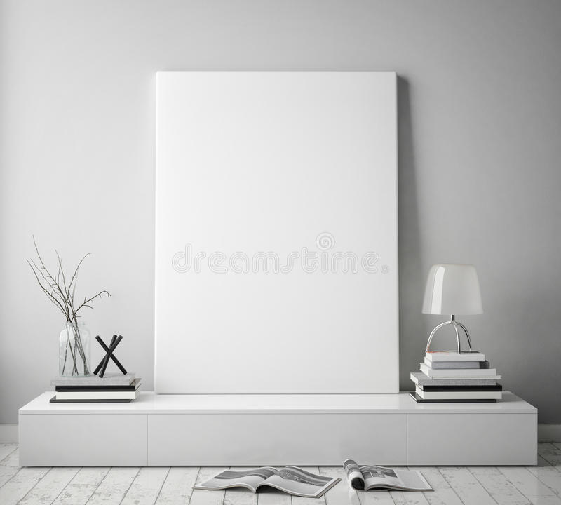 Mock Up Poster Frame In Hipster Interior Background With Light ...