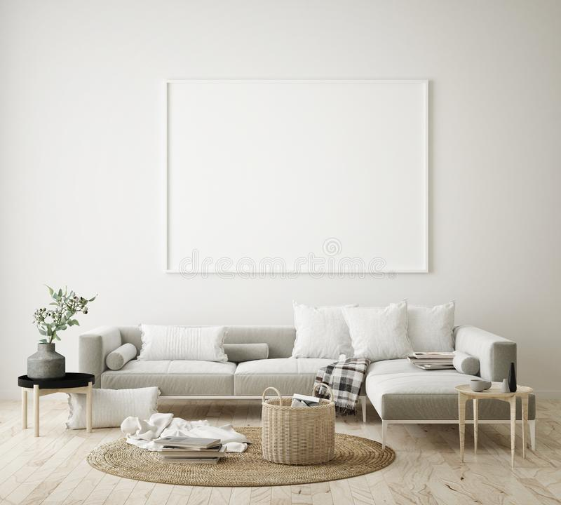 mock up poster frame in hipster interior background, living room,Scandinavian style, 3D render, 3D illustration vector illustration