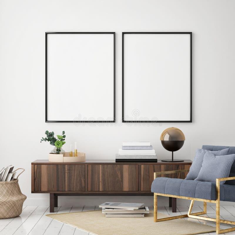 Mock up poster frame in hipster interior background, living room,Scandinavian style, 3D render, 3D illustration. Mock up poster frame in hipster interior vector illustration