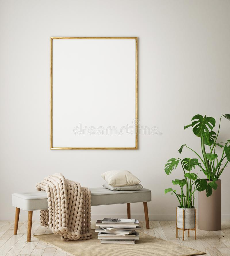 Mock up poster frame in hipster interior background, living room, Scandinavian style, 3D render, 3D illustration. Mock up poster frame in hipster interior royalty free illustration