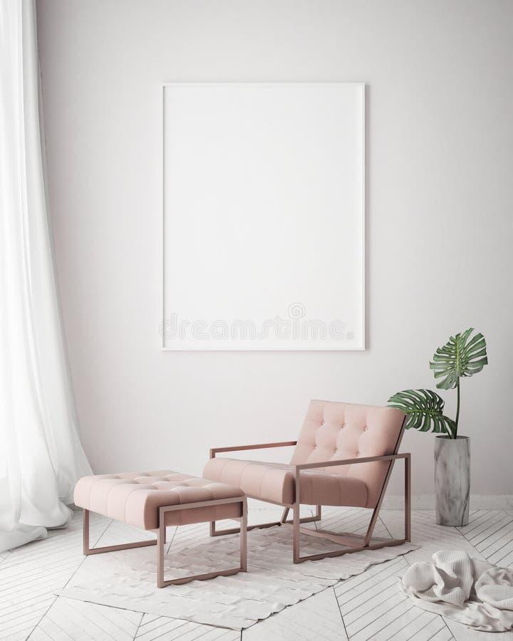 Mock up poster frame in hipster interior background, living room, Scandinavian style, 3D render, 3D illustration. Mock up poster frame in hipster interior vector illustration