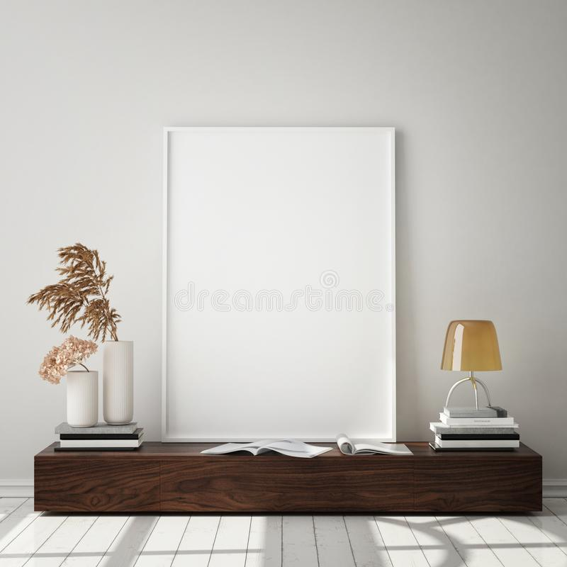 Mock up poster frame in hipster interior background, living room,Scandinavian style, 3D render, 3D illustration royalty free illustration