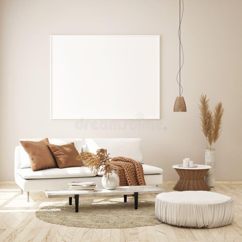 Mockup Poster Frame In Dark Living Room Interior