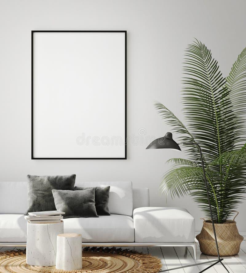 Mock up poster frame in hipster interior background, living room,Scandinavian style, 3D render, 3D illustration. Mock up poster frame in living room interior stock illustration