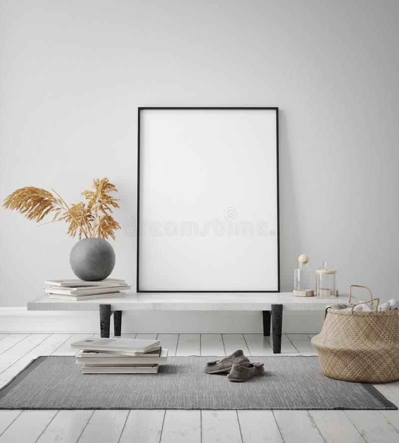 Mock up poster frame in hipster interior background, livingroom, Scandinavian style, 3D render, 3D illustration. Mock up poster frame in hipster interior vector illustration