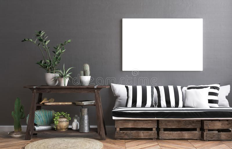 Mock up poster frame in hipster interior background stock illustration