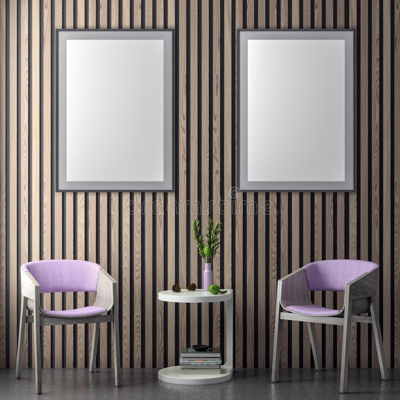 Mock up poster frame in hipster interior background in pink colors and wood wall planks, 3D illustration stock image