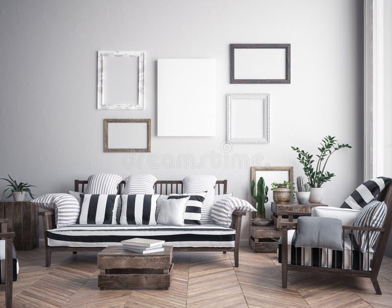 Mock up poster frame in hipster interior background, scandinavian style stock illustration
