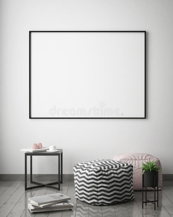 Mock up poster frame in hipster interior background, scandinavian style royalty free illustration