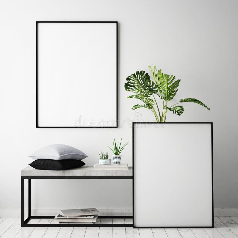 Mock up poster frame in hipster interior background, scandinavian style,. 3D render, 3D illustration royalty free illustration
