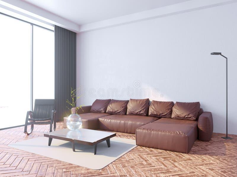 Mock up poster frame in hipster interior background, Scandinavian style, 3D render, 3D illustration vector illustration